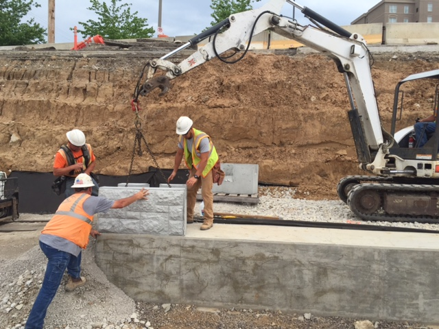 Laying the first row of the st louis Missouri metro project