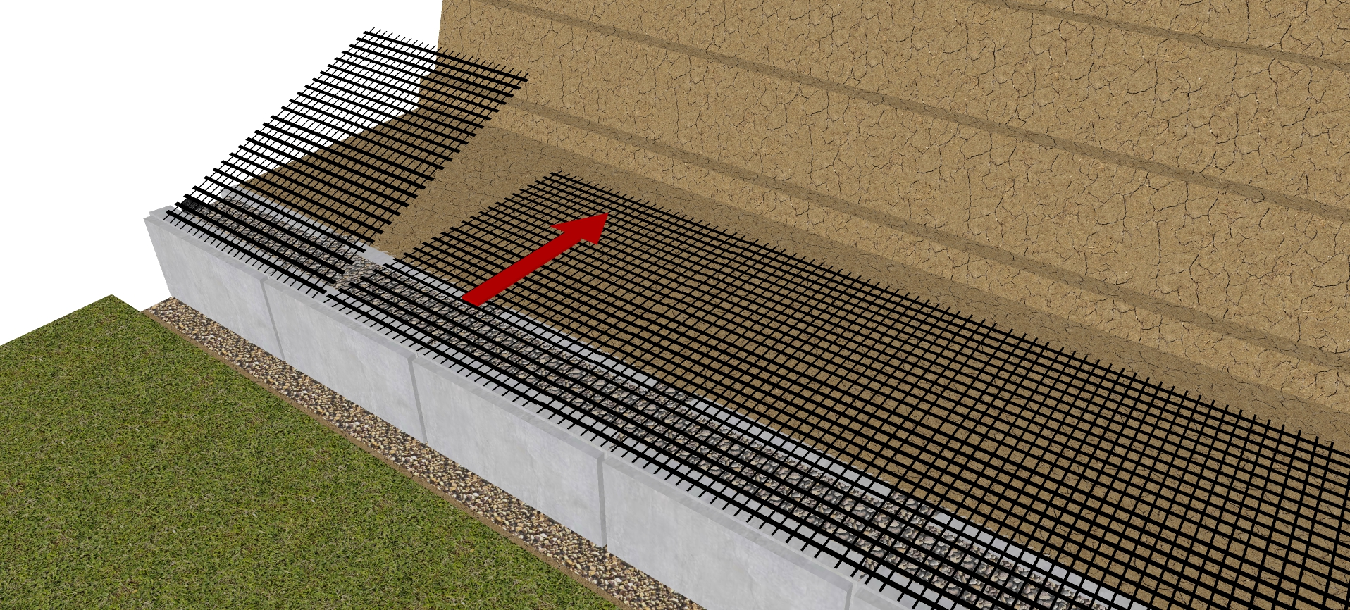 geogrid orientation in retaining walls