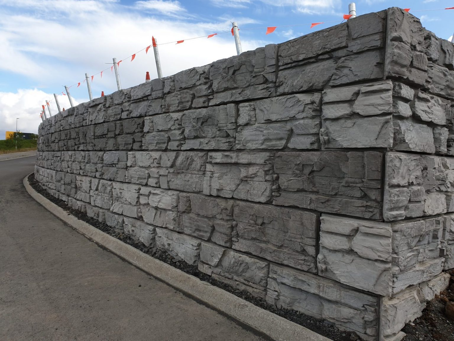 MaxumStone Ledge Face Retaining Wall at a hospital in Iceland