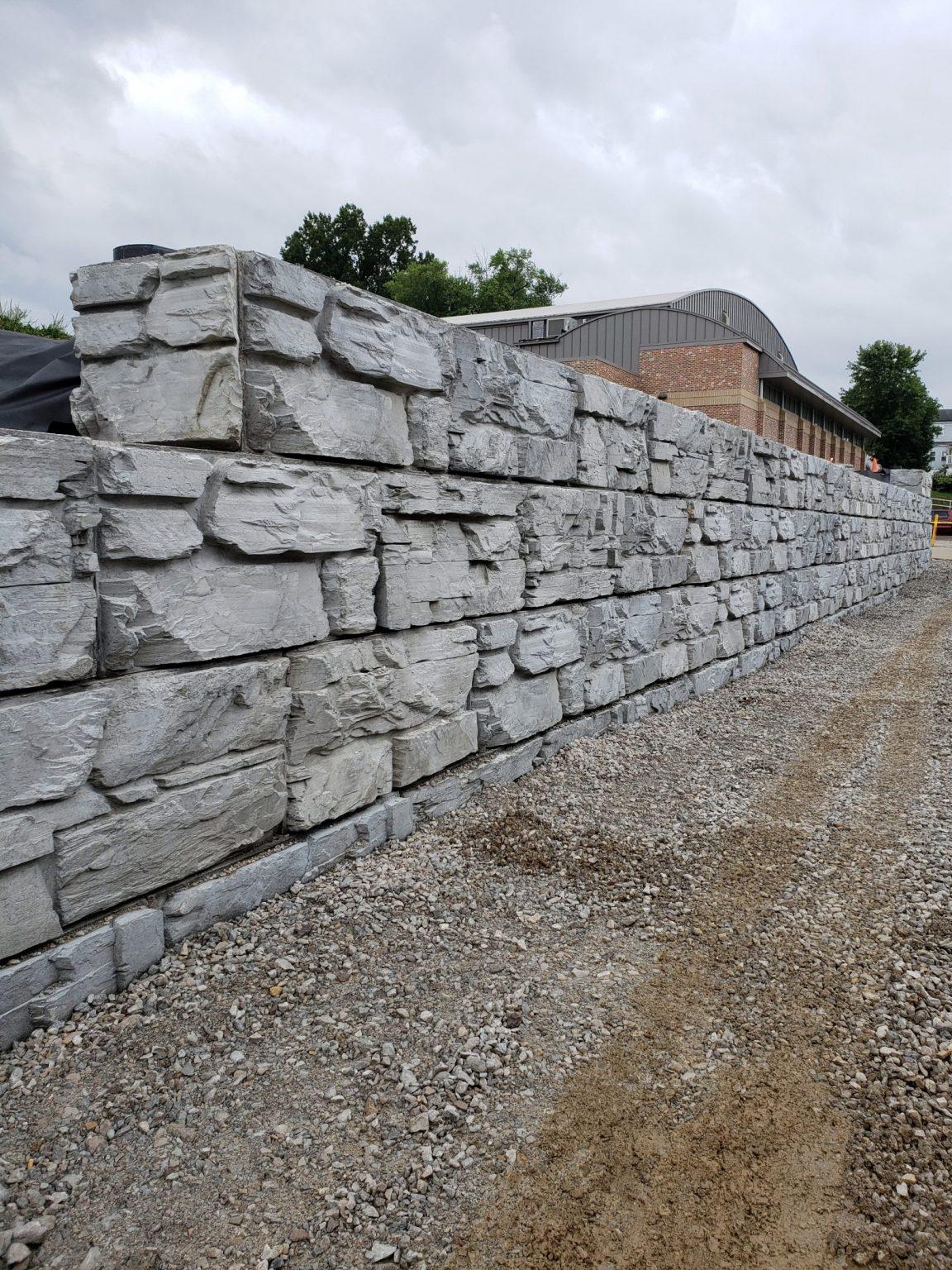 6 foot high MaxumStone Wall showcasing natural rock texture