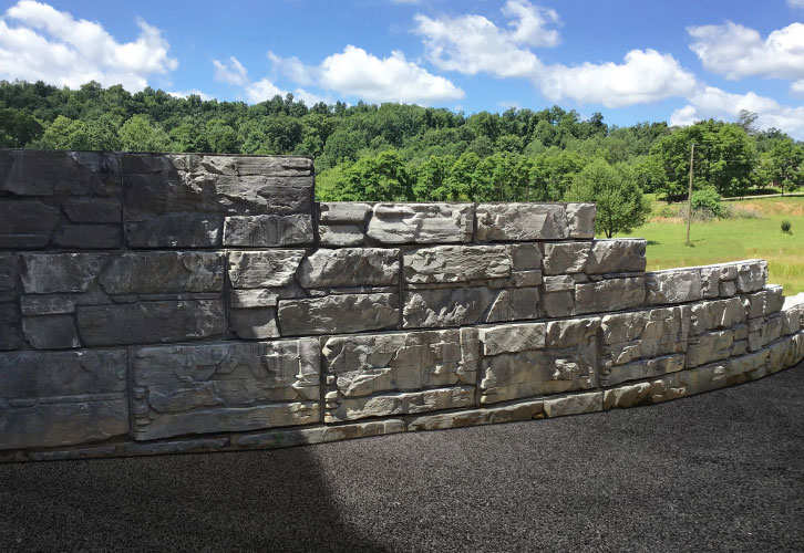 MaxumStone step-up retaining wall, driveway extension