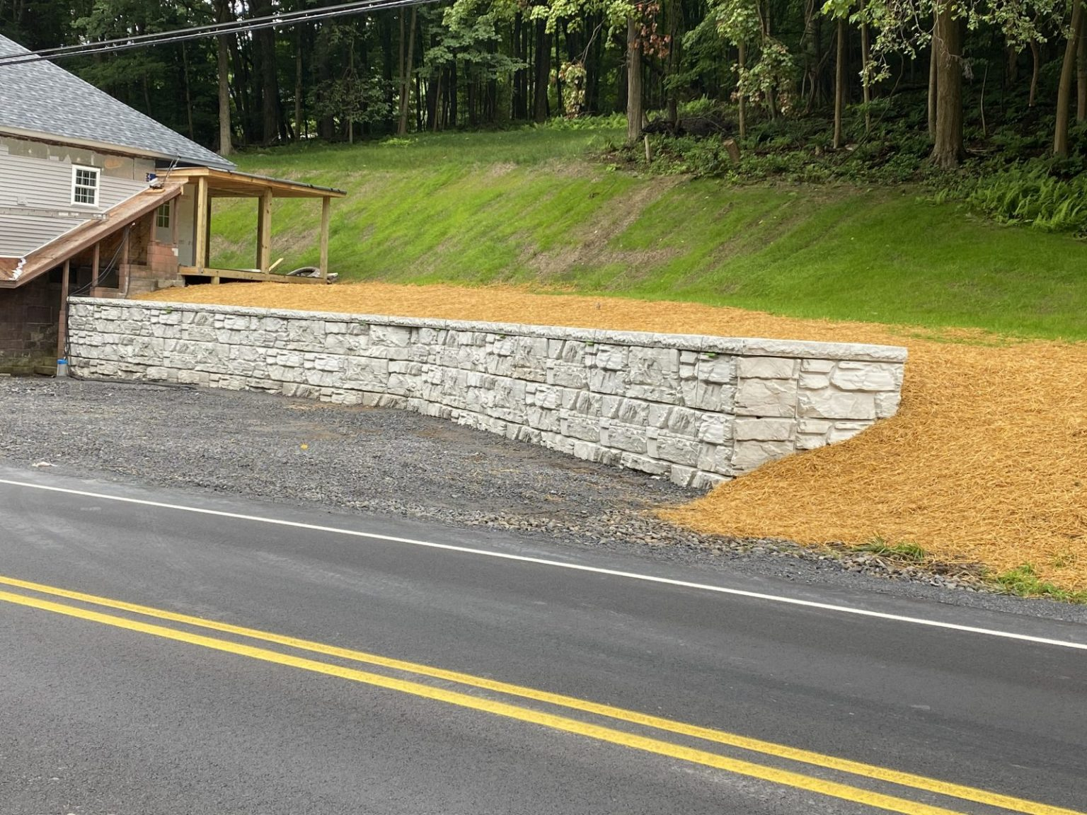 MaxumStone Gravity retaining wall parking lot extension