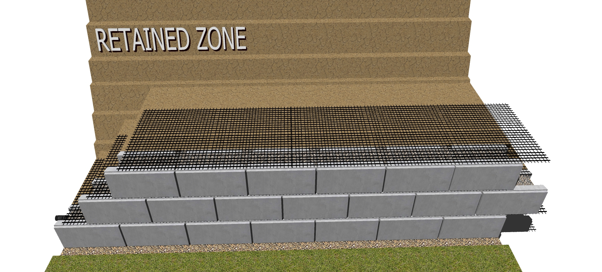third row geogrid layer for retaining wall